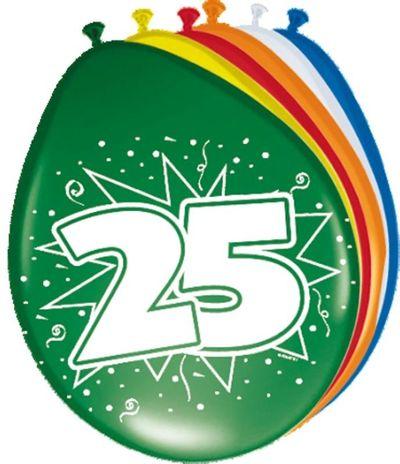 Ballonnen 25 jaar (30cm) 8st