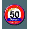 Afbeelding van Button Sarah 50 verkeersbord