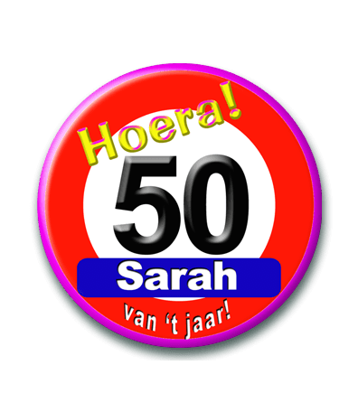 Button Sarah 50 verkeersbord