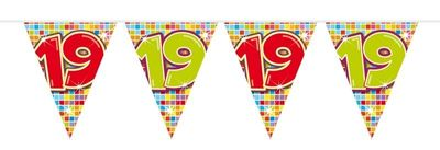 Mini Vlaggenlijn Bday Blocks 19 jaar