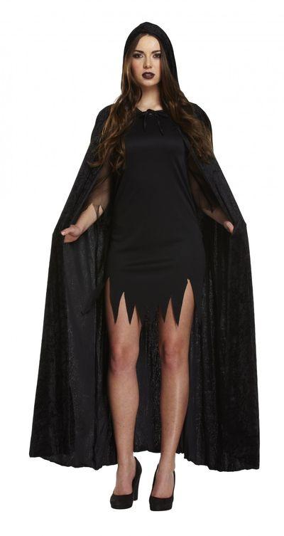 Zwarte fluwelen cape