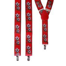Tiroler bretels met bloemen rood