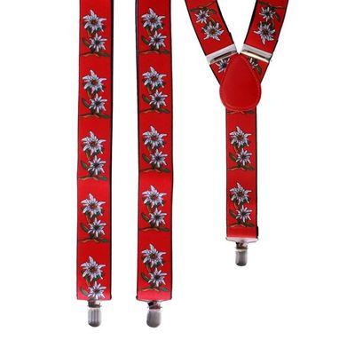 Bretels tirol met bloemen rood