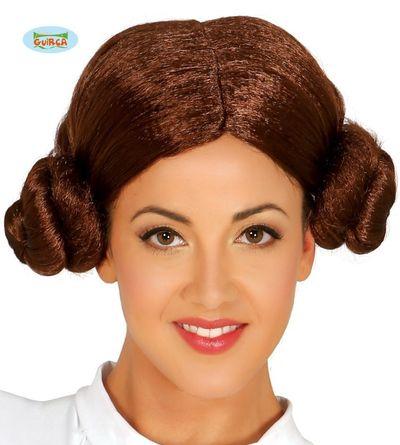 Pruik Prinses Leia Star Wars bruin