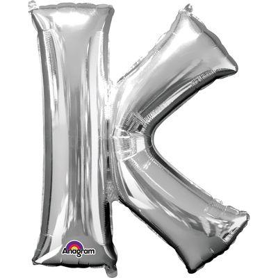 Folieballon letter K zilver 40cm