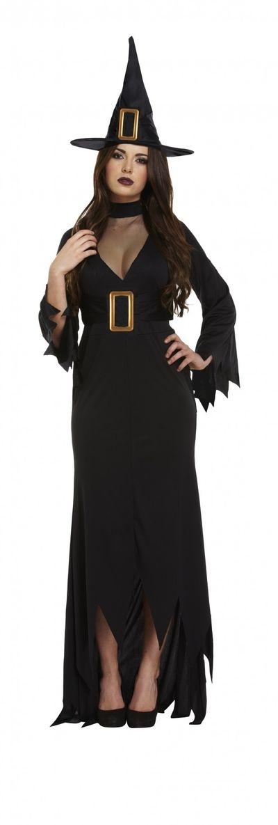Heks lange jurk zwart