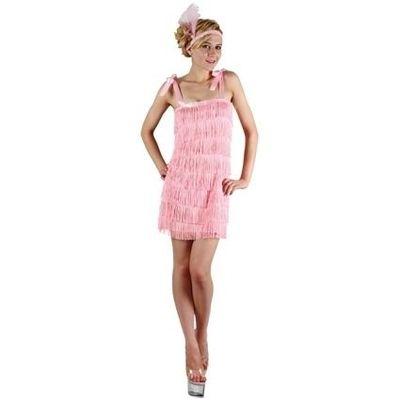 Jaren 20 jurkje roze met strikbandjes