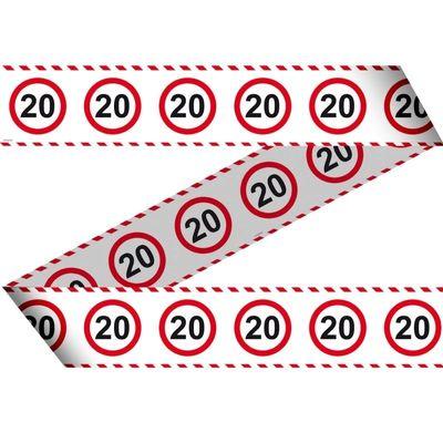 Afzetlint Verkeersbord 20 jaar 15m