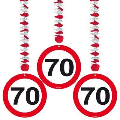 Foto van Hangdecoratie Verkeersbord 70 jaar/3stk