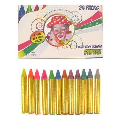 Foto van 12 kschmink stiften in doosje neon kleuren