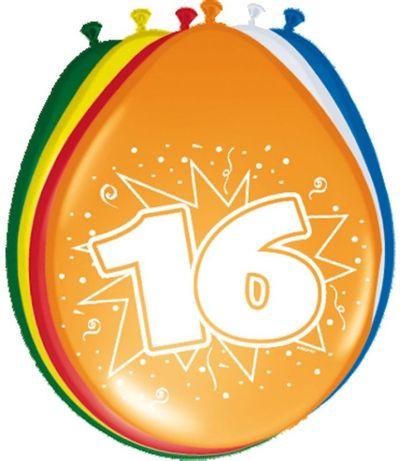 Ballonnen 16 jaar (30cm) 8st