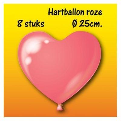 Foto van Hartjes ballonnen roze (25cm) 8st