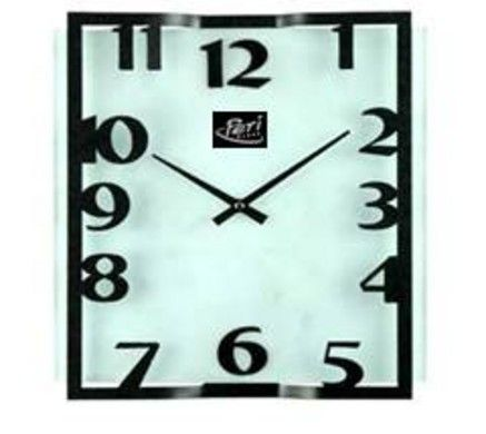 Wall clock square metal glas / Periglass