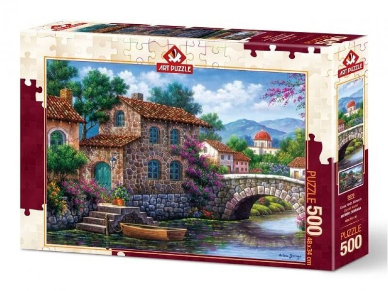 Puzzel Canal With Flowers 500 stukjes