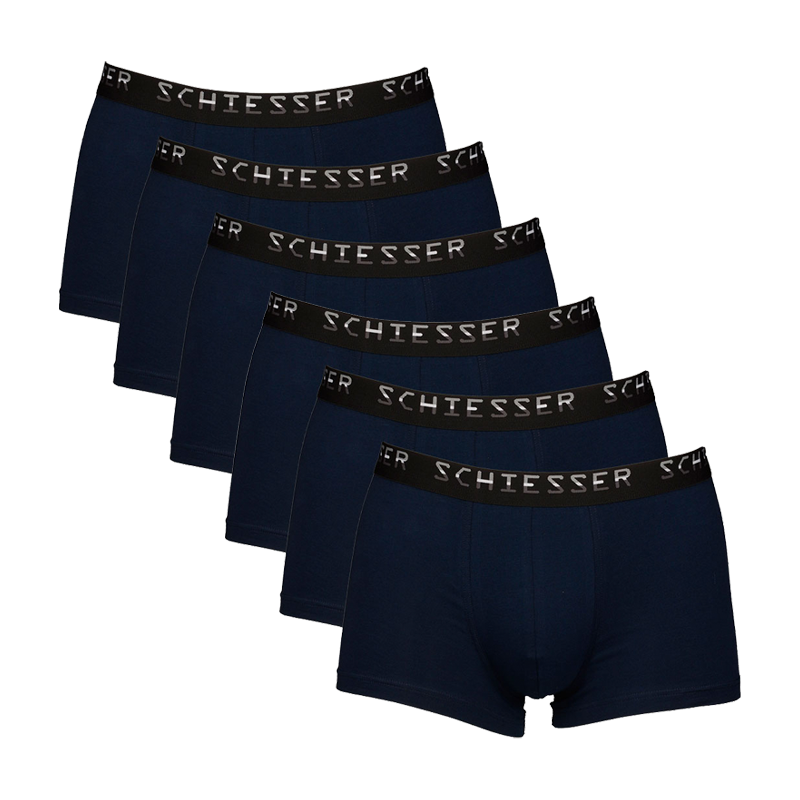 Schiesser 6-Pack low rise boxershorts donkerblauw