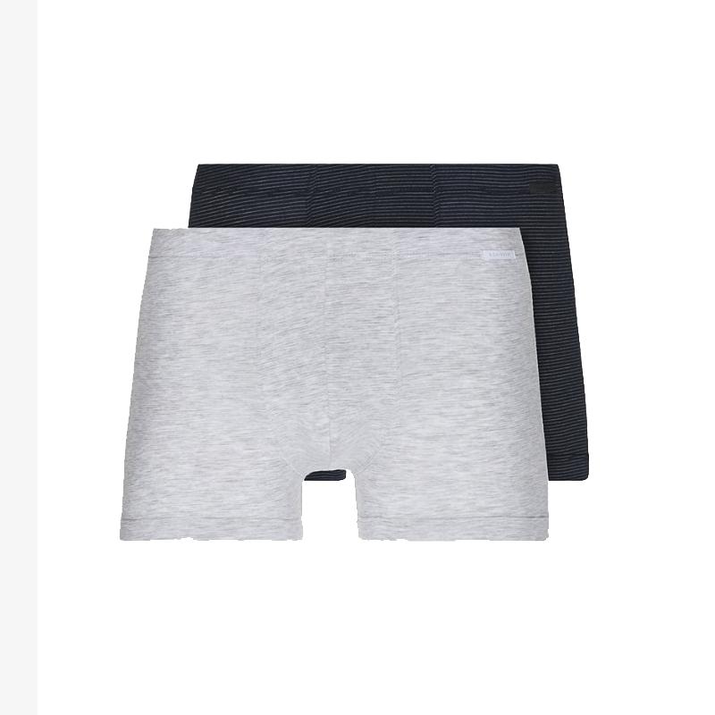 Schiesser 2-pack boxershorts xpress - grijs donker blauw