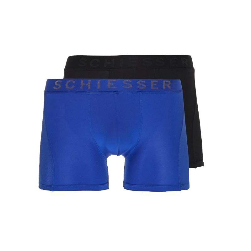 Schiesser 2-pack boxershorts xpress - blauw zwart