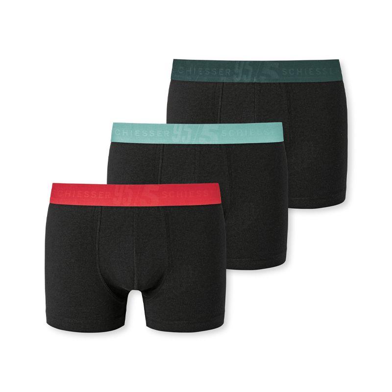 Schiesser 3-pack mannen boxershorts zwart multi