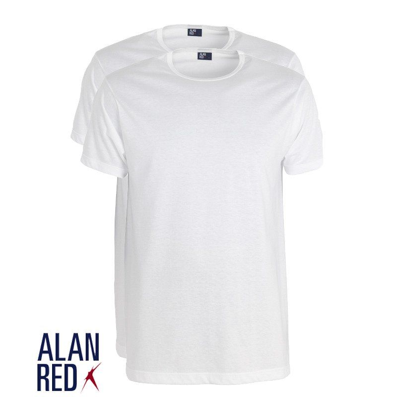 Alan Red 2-Pack T-shirts Derby, Crew Neck, Wit