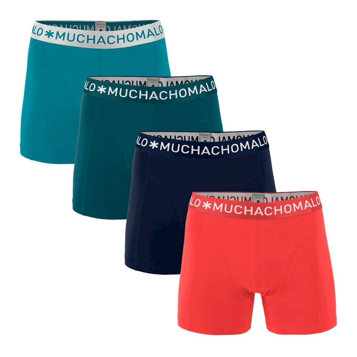 Muchachomalo 4-pack boxershorts solid - blauw groen navy rood