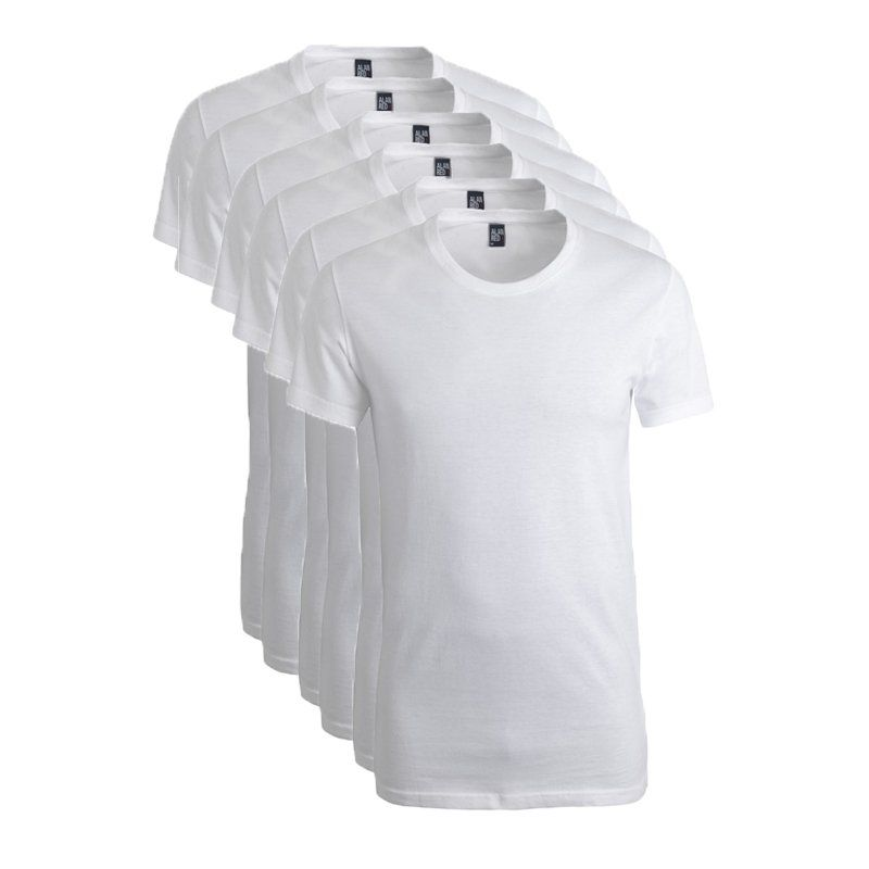 Alan Red 6-pack t-shirts james grote ronde hals wit