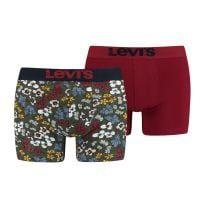 levi's boxershorts 2-pack khaki bordeaux flower