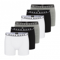 Hugo Boss 6-pack essential cotton stretch boxershorts - zwart/grijs/wit