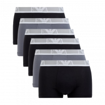 Emporio Armani 6-pack boxershorts trunk - zwart/grijs