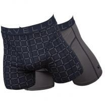 Cavello 2-pack heren boxershorts Taupe - zwart/print