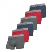 Calvin Klein 6-pack boxershorts trunk - grijs/rood/blauw