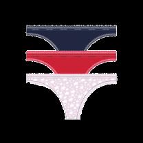 Calvin Klein 3-pack dames strings - roze/rood/blauw