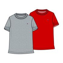 Tommy Hilfiger 2-pack t-shirts boys - rood/grijs