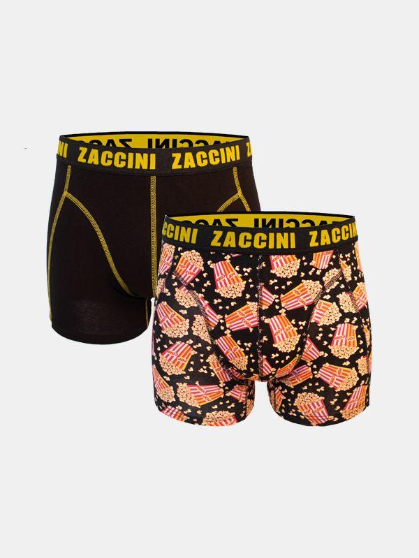 Zaccini boxershorts 2-pack zwart en popcorn