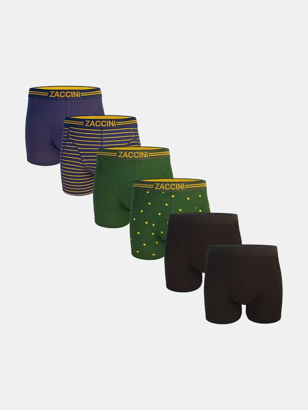 Zaccini 6-pack boxershorts - gold/blackonblack