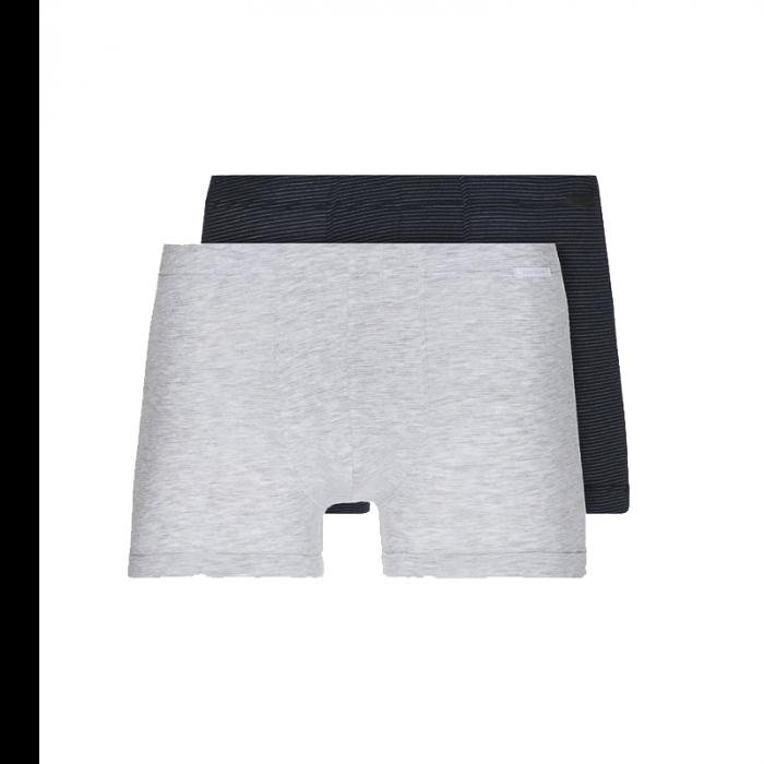 Schiesser 2-pack boxershorts xpress - grijs/donker blauw