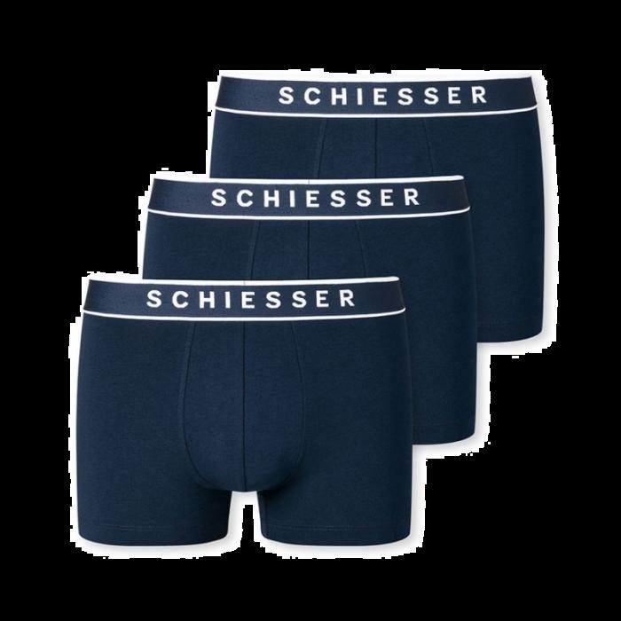 Schiesser 3-pack boxershorts - donkerblauw/logo