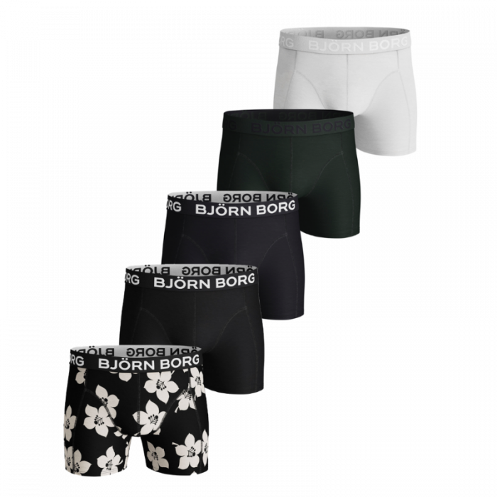 Björn Borg 5-pack boxershorts - wit/zwart/flower