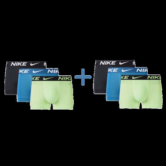 Nike 6-pack boxershorts trunk - zwart/blauw/lime