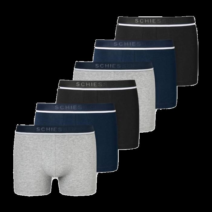 Schiesser 6-pack boxershorts - grijs/blauw/zwart