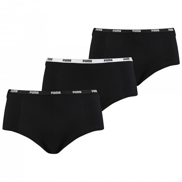 Puma basic mini short 3-pack zwart dames