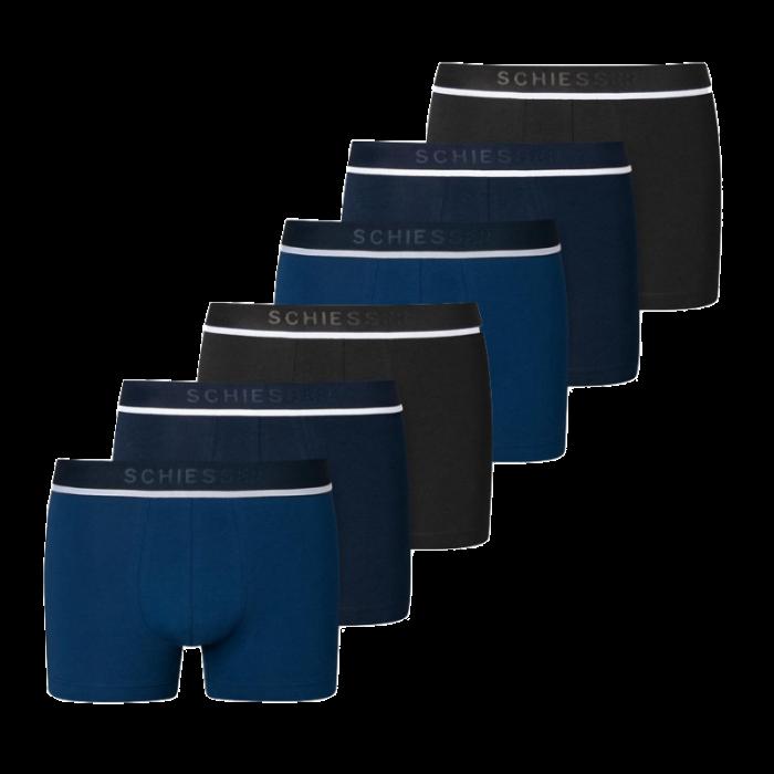 Schiesser 6-pack boxershorts - donkerblauw/zwart