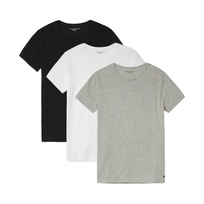 Tommy Hilfiger 3-Pack T-shirts Crew-Neck Premium Essentials Wit, Grijs, Zwart