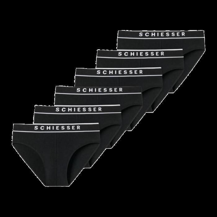 Schiesser 6-pack Rio heren slips - zwart