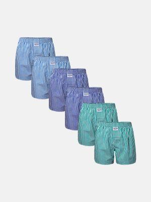 Zaccini 6-pack woven boxershorts - navy/lichtblauw/groen