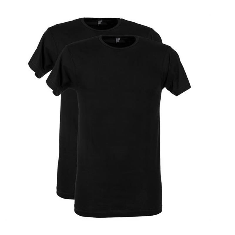 Alan red 2-pack t-shirt derby O-hals - zwart