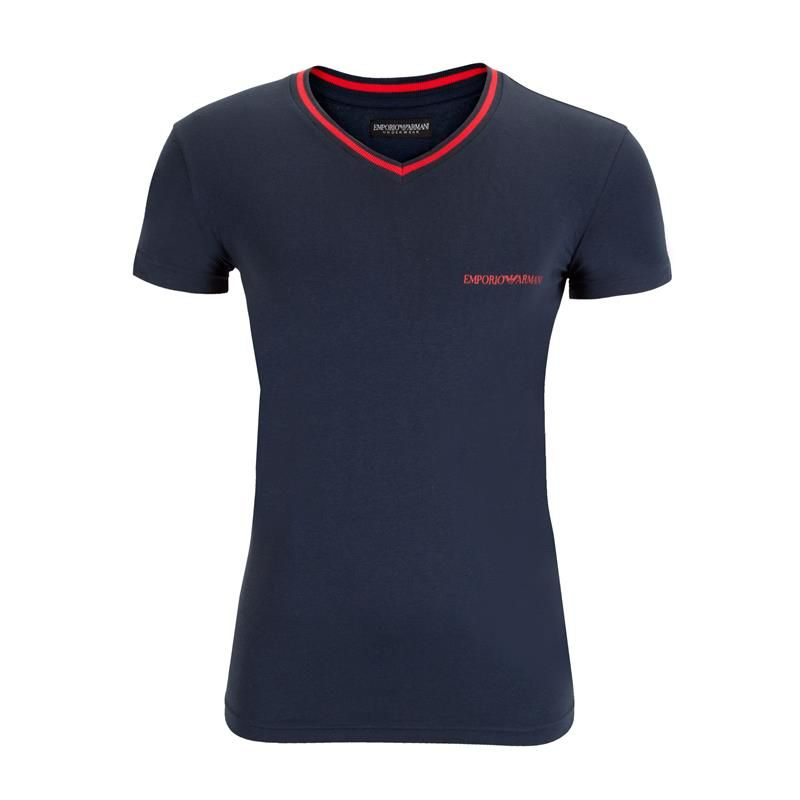 Emporio Armani T-Shirt V-Hals Stretch Cotton marine blauw