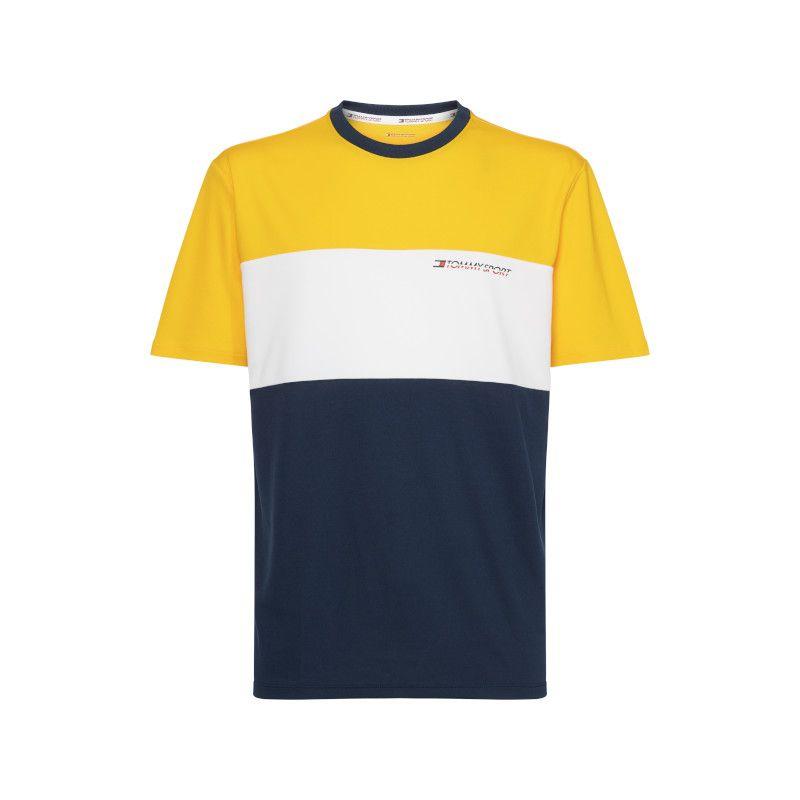 Tommy Hilfiger Sport t-shirt colorblock geel