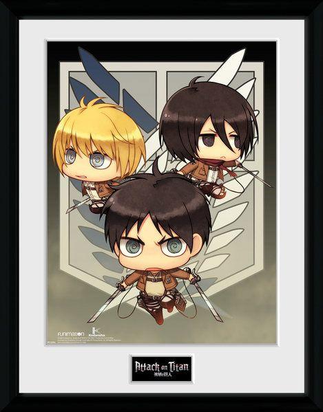 Attack On Titan Season 2: Chibi Trio 30 x 40 cm Framed ...