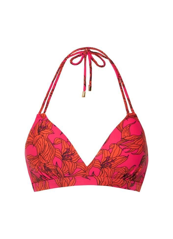 Beachlife Pink Lilies halter bikinitop