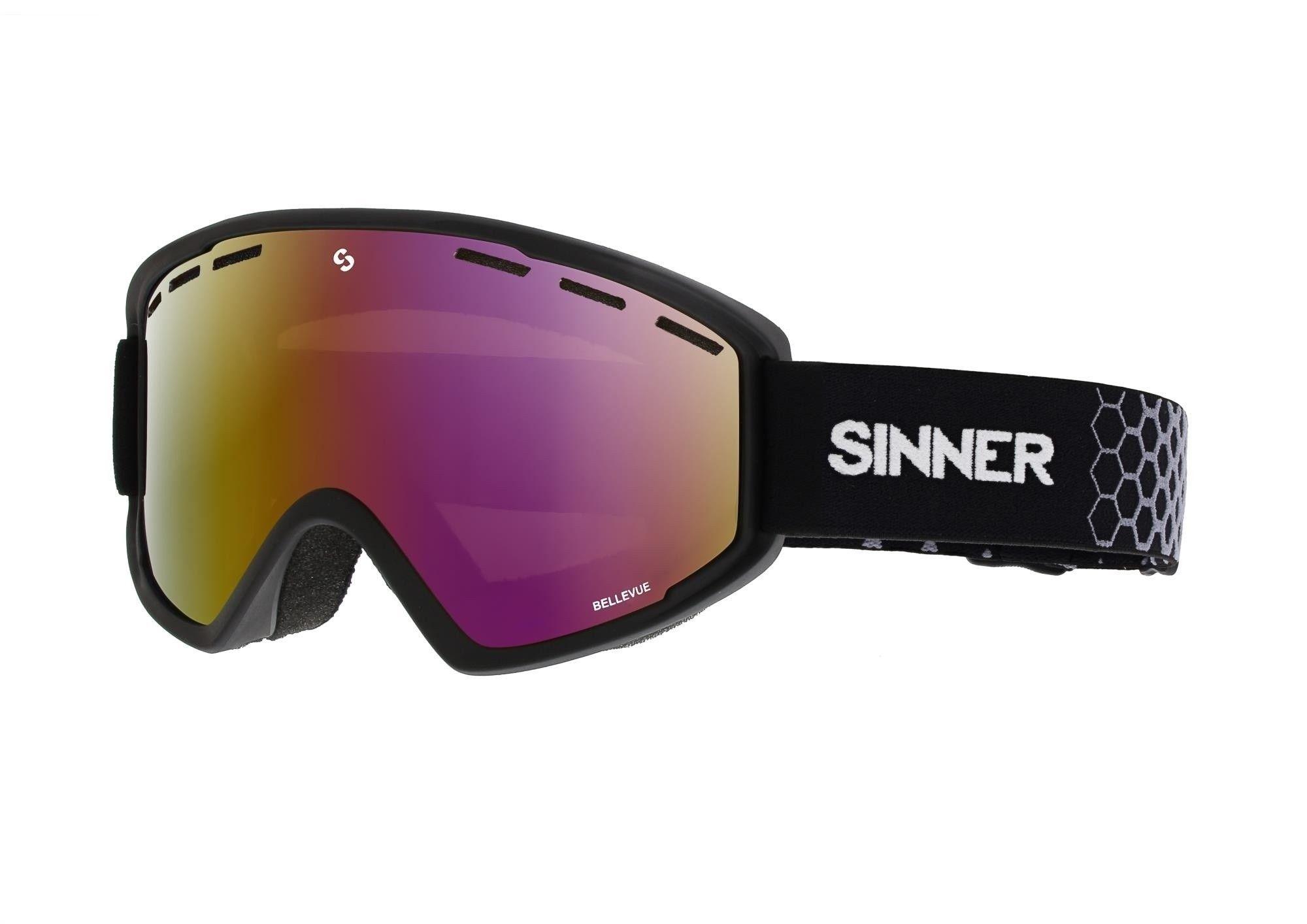 Wintersportbril Bellevue mat zwart